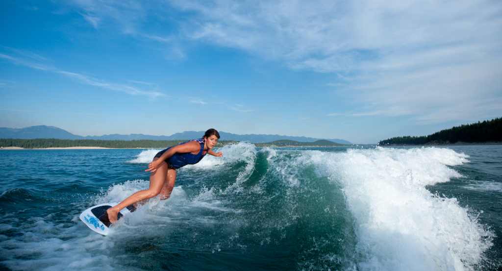 wakesurf and wakeboard at Lake Koocanusa